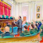 Sketch of Oral Arguments before Court of Appeals for the Armed Forces in United States v. Sterling – Art by Dana Verkouteren.
