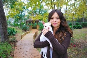 Alexia Palma with her dog, Chiclets. Photo is courtesy of First Liberty Institute.