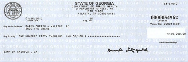 Walsh_Check_75k Georgia Pays Almost a Quarter-of-a-Million Dollars to Victim of Religious Discrimination