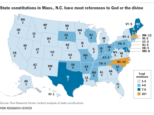 FT_17.08.14_religionStateConstitutions All 50 State Constitutions Mention God or Use Religious References, Pew Research Finds