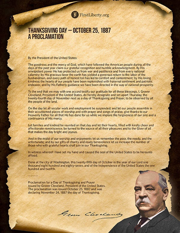 Thanksgiving Proclamation | President Grover Cleveland | First Liberty