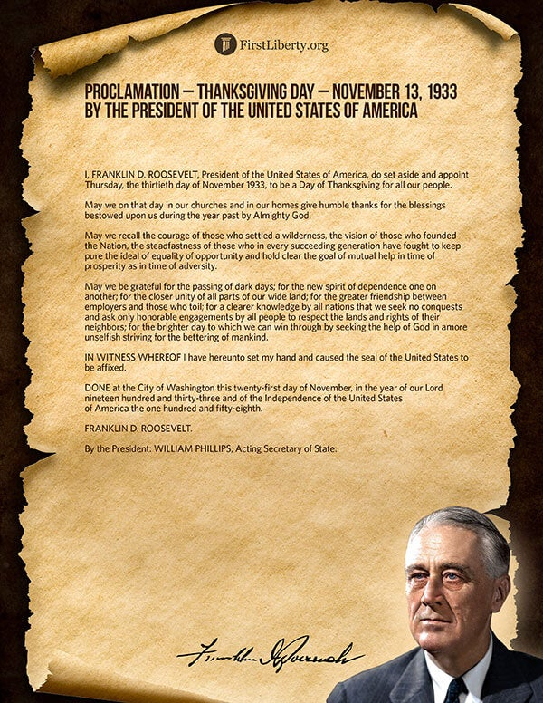 Thanksgiving Proclamation | President Franklin D Roosevelt | First Liberty