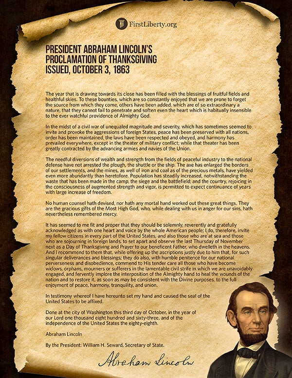 Thanksgiving Proclamation | President Abraham Lincoln | First Liberty
