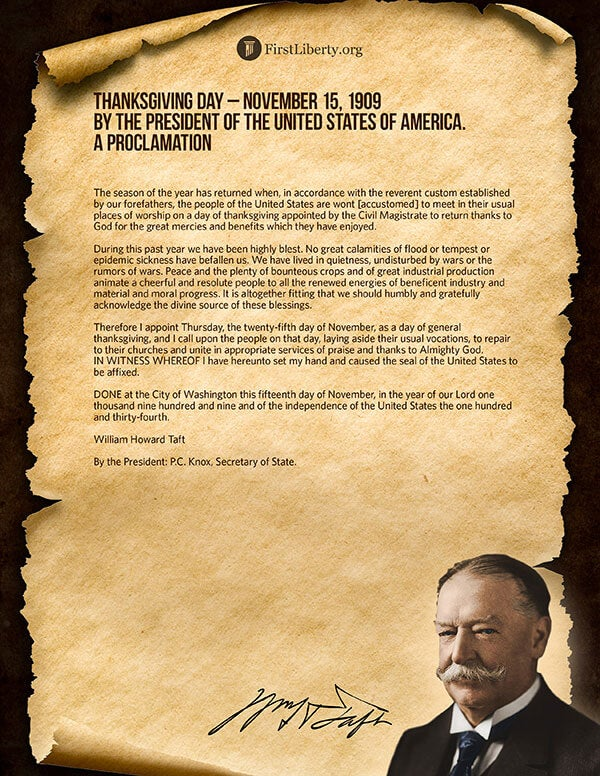 Thanksgiving Proclamation | President William Howard Taft | First Liberty