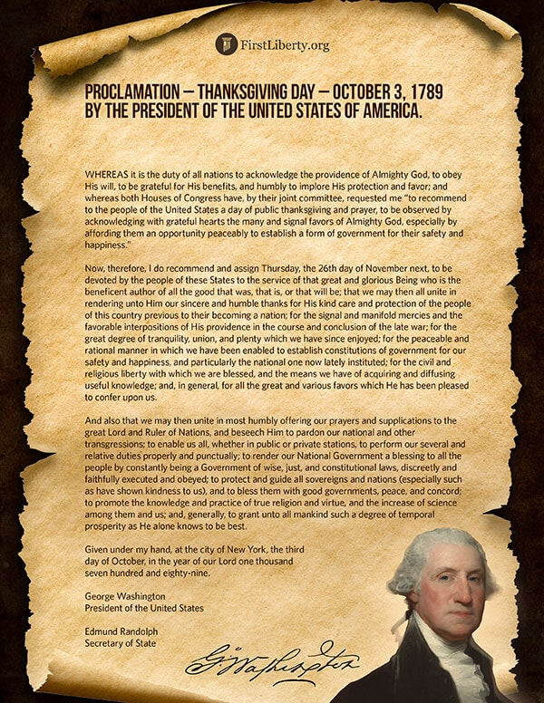 Thanksgiving Proclamation | President George Washington | First Liberty