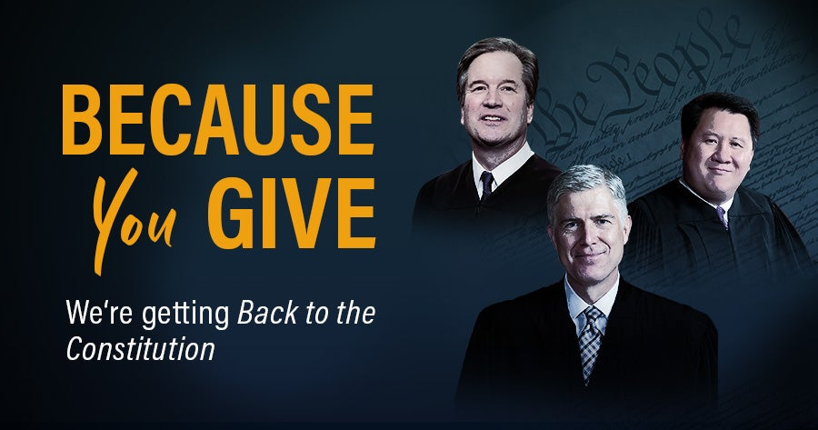 Because You Give | Back to the Constitution | First Liberty