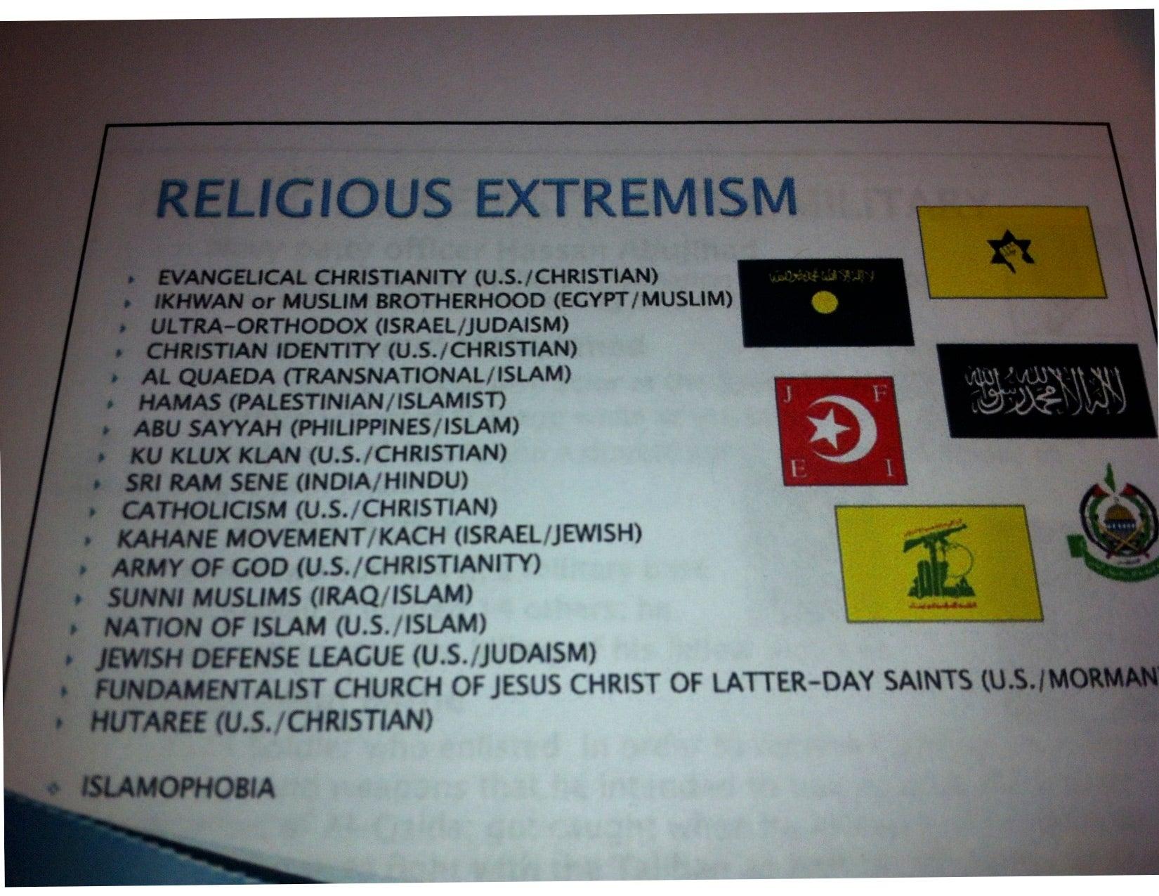 Religious Extremism Training Material Photo